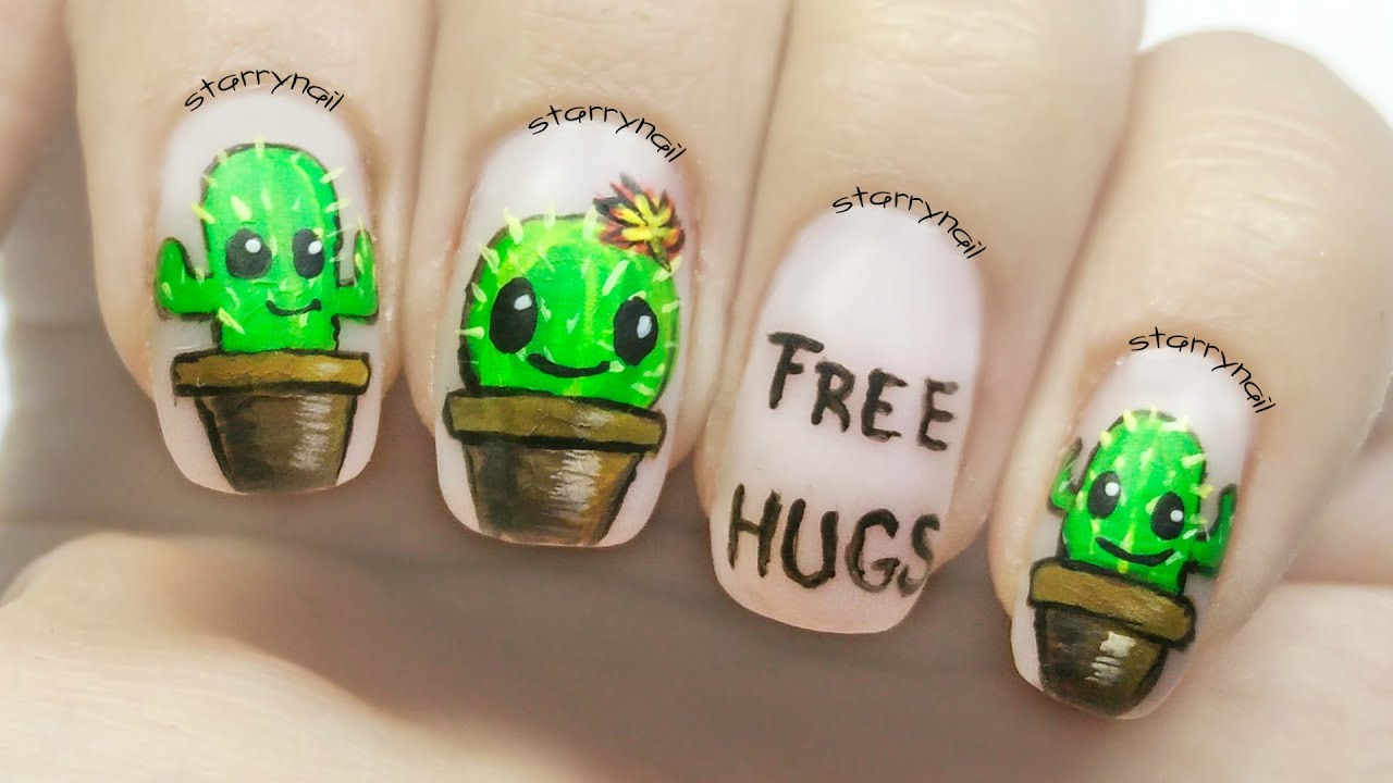 cute cactus nails freehand nail