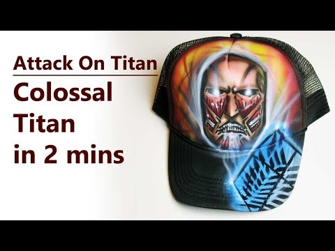 Attack On Titan painting on hat | Colossal Titan airbrush speed painting