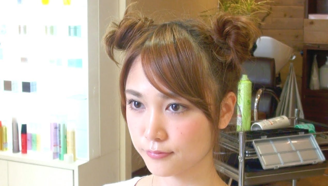 ミッキー風の簡単2つお団子ヘアの作り方 Chignon Hairstyle , YouTube