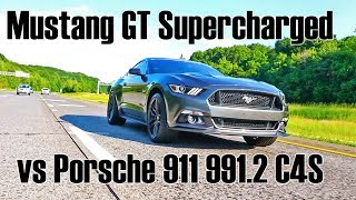 Mustang GT with Roush Supercharger kit vs Porsche 911 Carrera 4 S