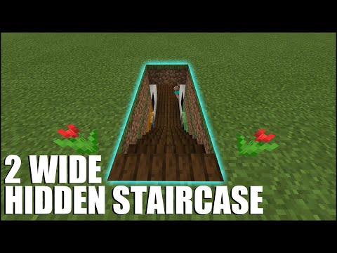 How To Build A 2 Wide Hidden Staircase In Minecraft Bedrock!