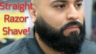 Full Beard Trim and Straight Razor Head Shave! Bigen Beard Color