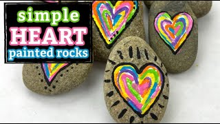 Mini Rainbow Heart Painted Rocks || Easy Acrylic Painting for Beginners || Rock Painting 101