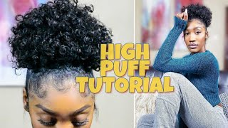 High Puff Tutorial on Natural Hair | Drawstring Ponytail