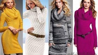 видео Модные вязаные платья 2017