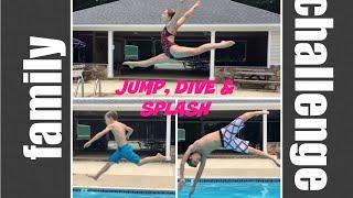 family jump dive splash challenge   flippin katie