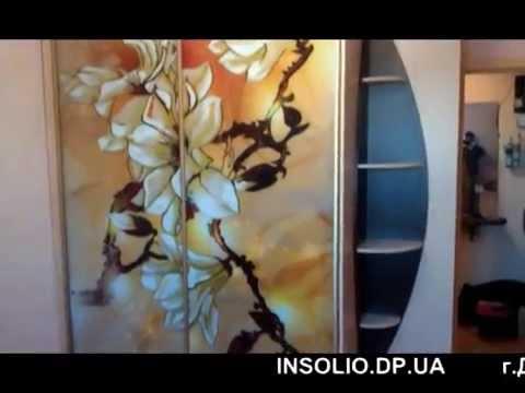 шкаф-купе с рисунком магнолии