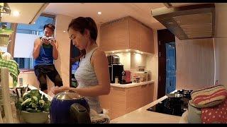sarah and jason making tofu fish soup 宋熙年陳智燊 齊齊煲豆腐魚湯 sarah song & jason chan