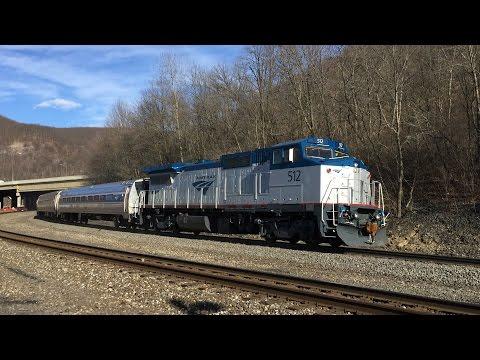 Amtrak HD: Freshly Rebuilt GE P32-8WH 512 Leads Pennsylvanian Train 43 Through Tyrone, PA (3/18/15)