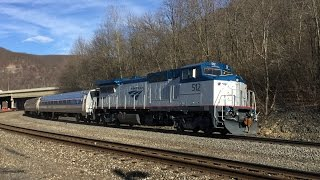 Amtrak HD: Freshly Rebuilt GE P32-8WH 512 Leads Pennsylvanian Train 43 Through Tyrone, PA (3/18/15)