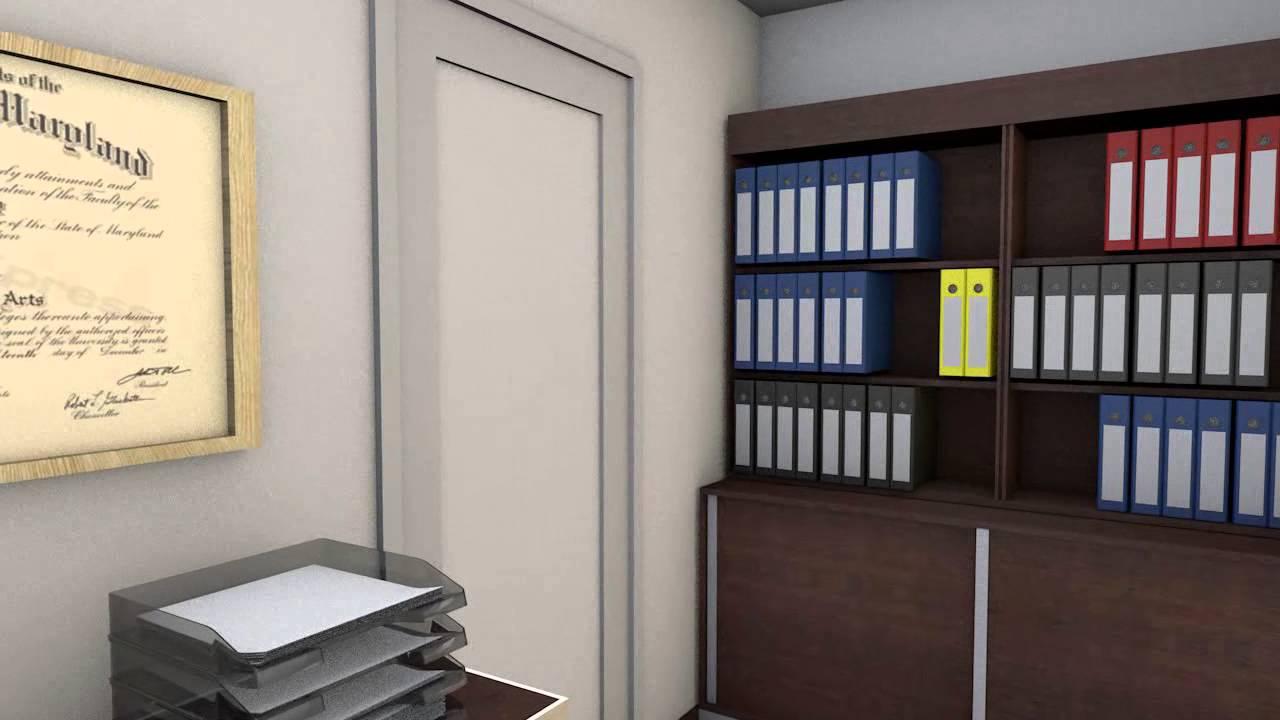 Estudio contable oficinas animaci n y render 3d youtube for Como organizar un despacho en casa