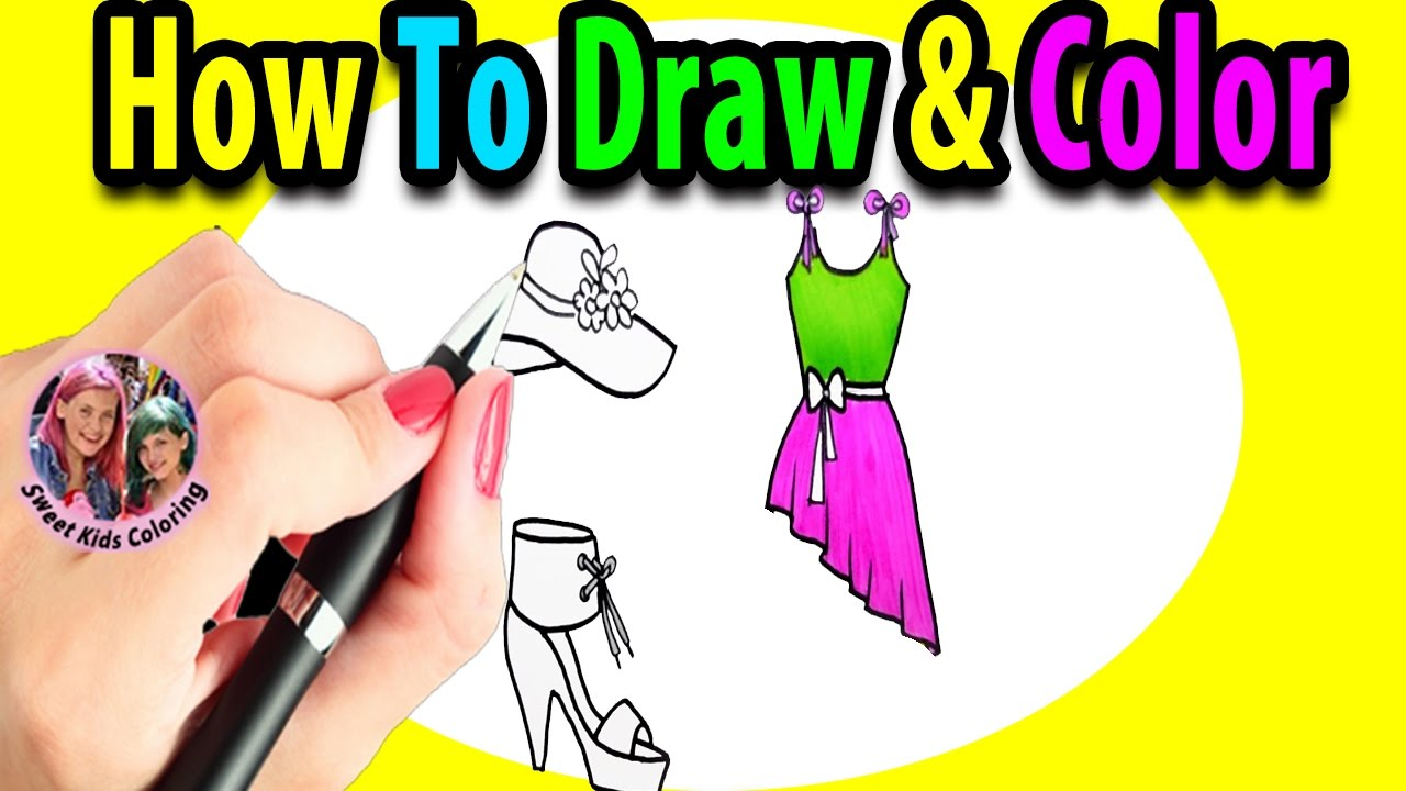 learn how to draw color barbie dresses step by step youtube
