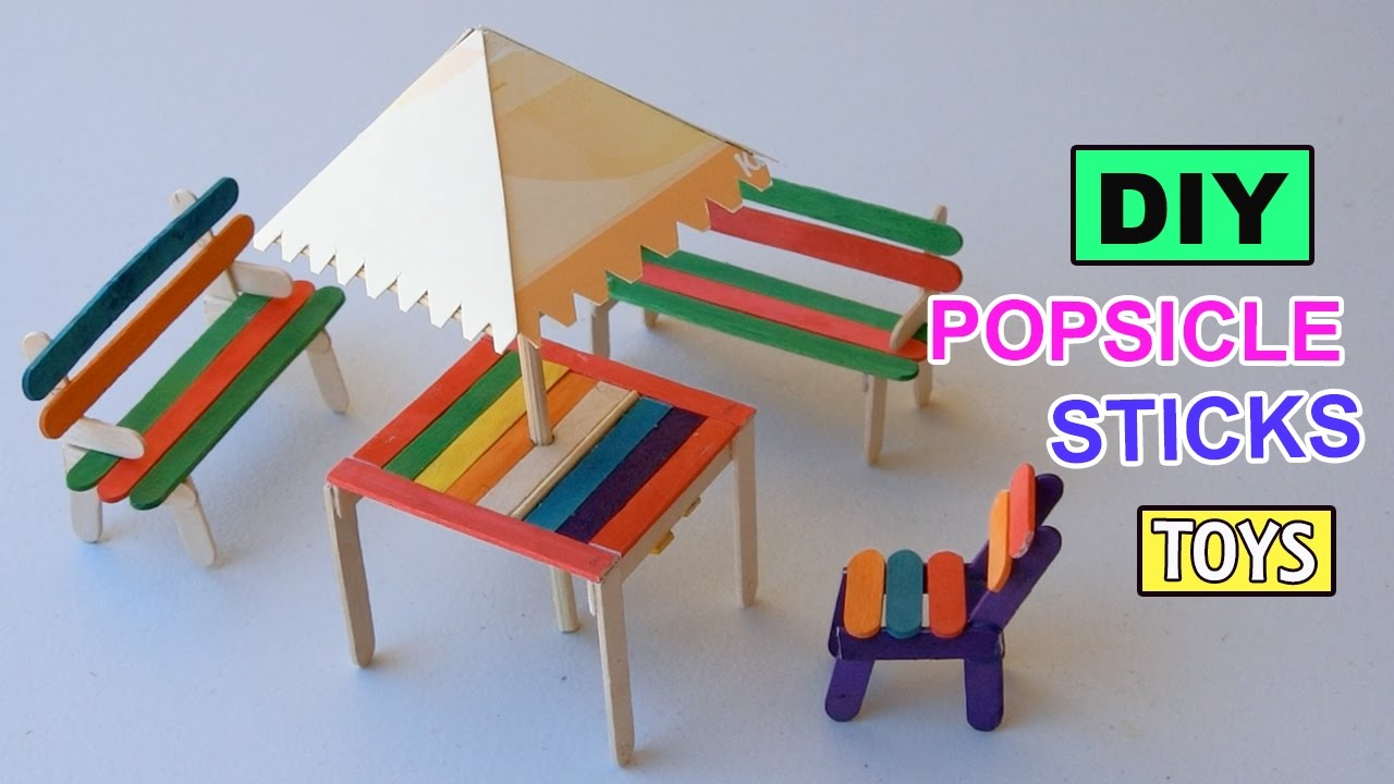 DIY Popsicle Sticks Table with Shade Furniture Toys