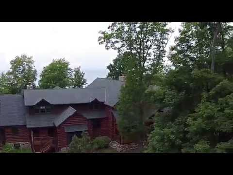 Beaver Island Michigan Waterfront Log Castle: Flying outside and going inside!