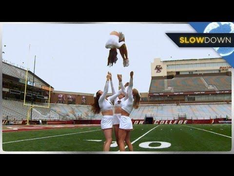 High Flying Cheerleaders IN SLOW MOTION!