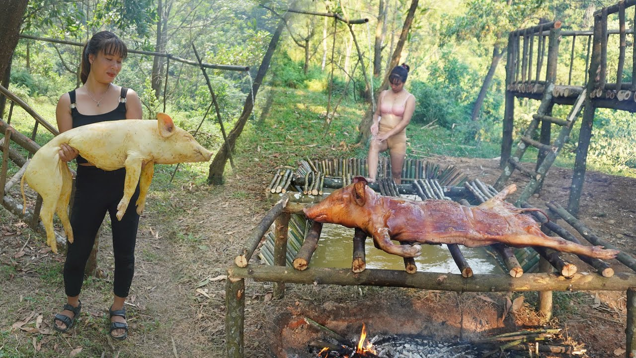 Full Video: Solo Bushcraft in 365 Days, Log Cabin, Roast Pig — Survival Alone in the Forest