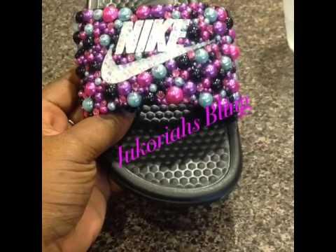 8b3fec35a Diy custom bling Nike slides bling haul - YouTube