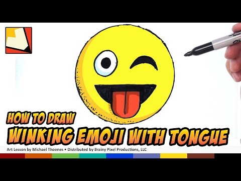How To Draw Emojis - Winking With Tongue Sticking Out - Step By Step For Beginners | BP