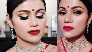 साड़ी के साथ ऐसे मेकअप करें Products Under 500/- Makeup For Red Saree In Hindi Cut Crease