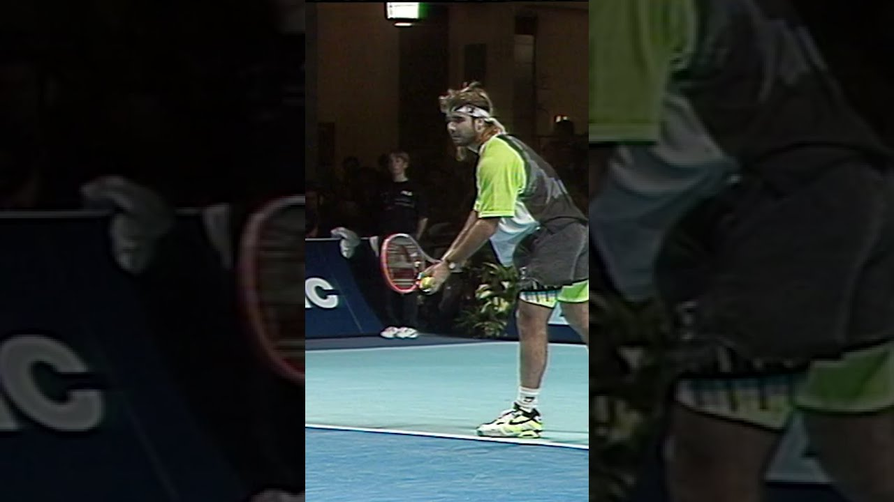 Tennis Ball Gets Stuck in Net After Agassi Serve! 🤣 #Shorts