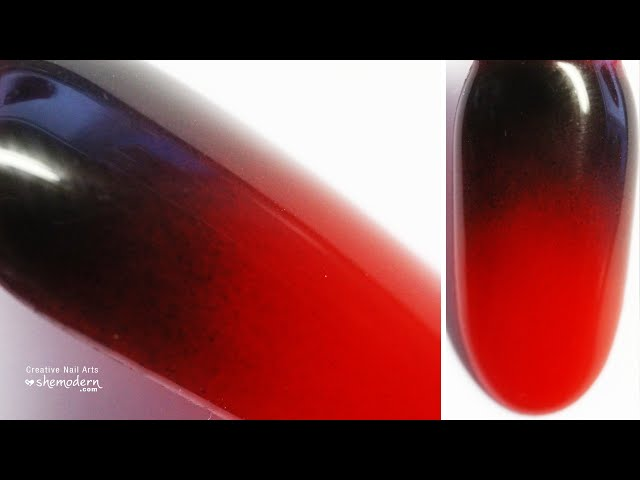 Nail art black red gradient ombre design with gel polish. Easy how to tutorial