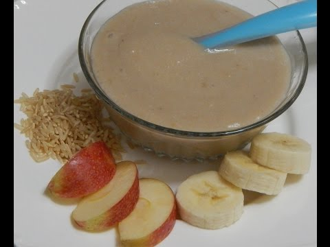 Healthy Baby Food Recipe – Banana Porridge – Rice with Banana & Apple l 6+ months