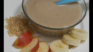 Healthy Baby Food Recipe - Banana Apple Porridge - Rice with Banana & Apple l 6+ months