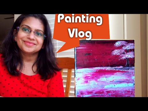Easy abstract painting for beginners || Abstract landscape using just 2 colors