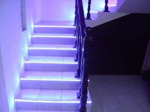 Escaleras leds iluminacion youtube for Apliques led para escaleras
