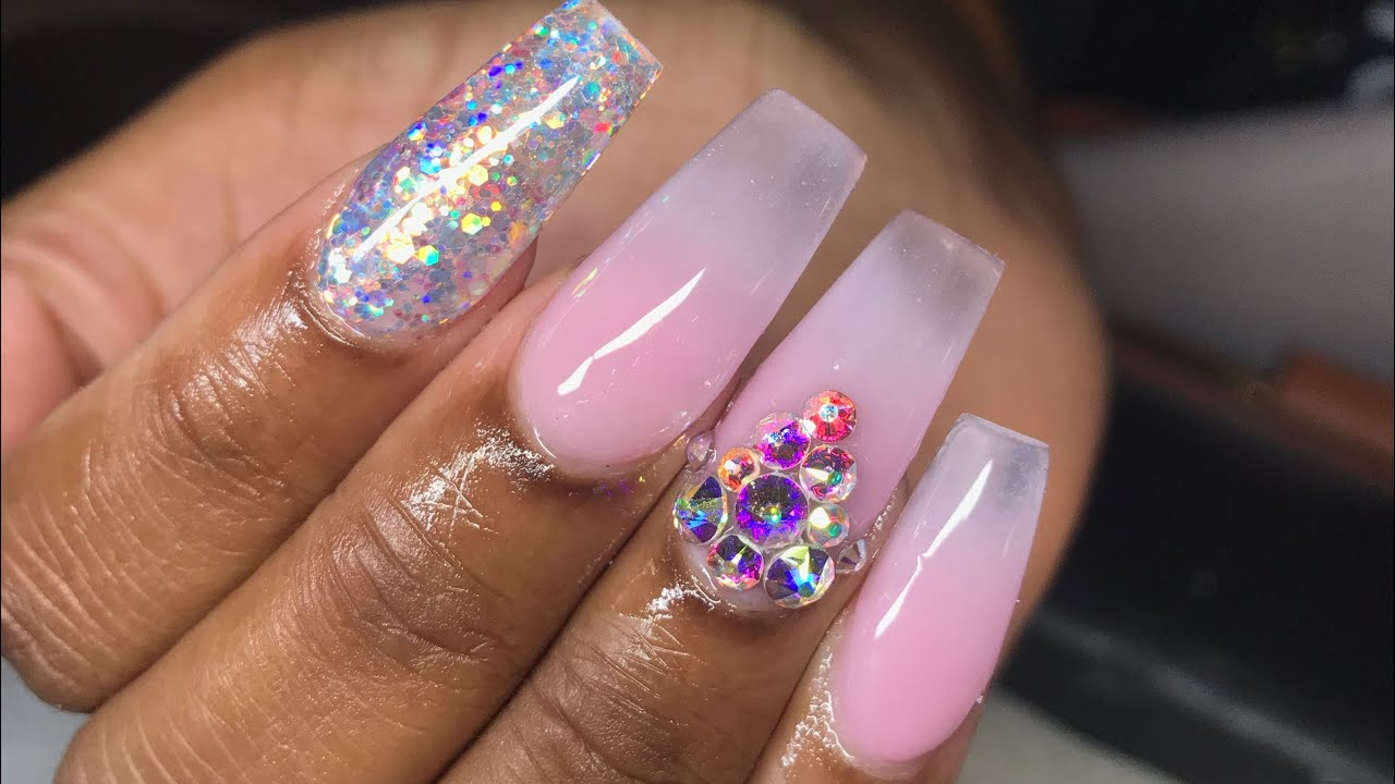 Pink And Clear Ombre Acrylic Nail Coffin Tutorial Beauty Top News