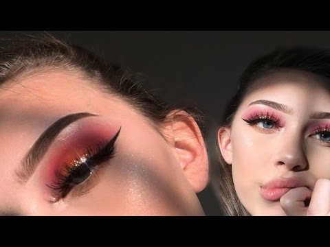 SUNSET gold glitter eyeshadow tutorial2017