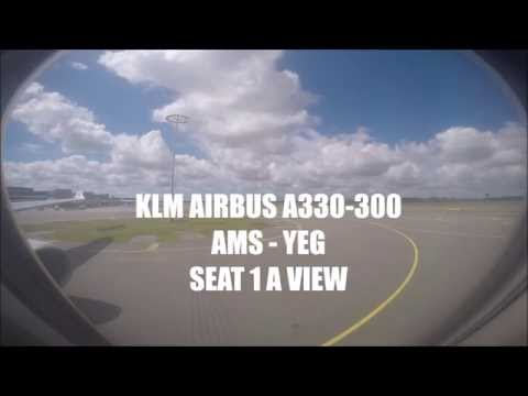 KLM Airbus A330 - Business Class Seat 1A View - Amsterdam to Edmonton