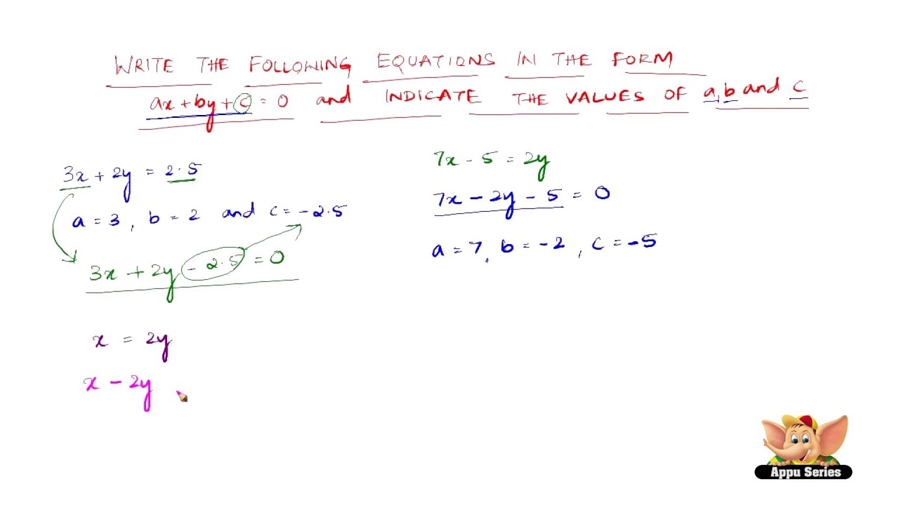 how to write a linear equation