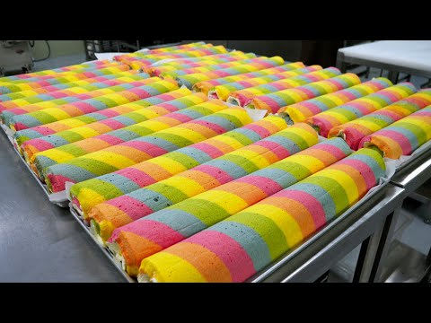 🌈Rainbow roll cake master made by coloring hundreds of times / korean street food