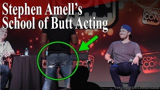 "David Ramsey demonstrates ""Stephen Amell"