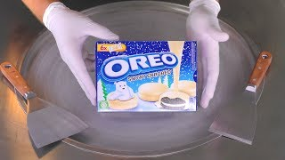 ASMR - white Chocolate OREO Ice Cream Rolls | tingle tapping & scratching sound to relax and sleep