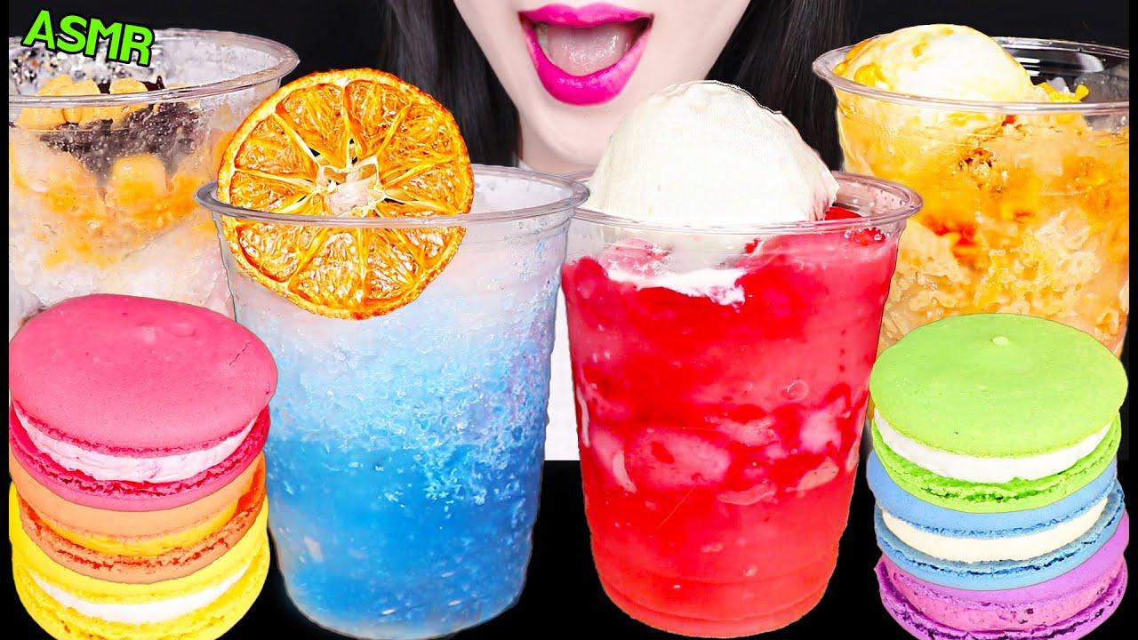 ASMR BINGSU, SHAVED ICE, ICE CRACKING SOUND, RAINBOW MACARON 얼음 먹는 소리, 시원한 컵 빙수 먹방 EATING SOUNDS