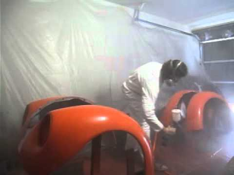 Spraying the fenders on the V8 Bug Hugger Orange – Summit Racing Paint