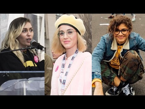 Zendaya, Katy Perry, Miley Cyrus & MORE Celebs Support Women's March