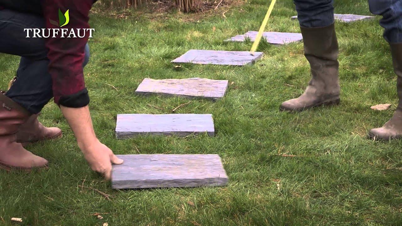 Comment poser des pas japonais jardinerie truffaut tv youtube - Installer des dalles de jardin ...