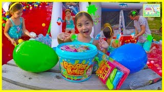 Booger Balls Battle & 200 Water Balloons Surprise Toys Challenge! Outdoor Play