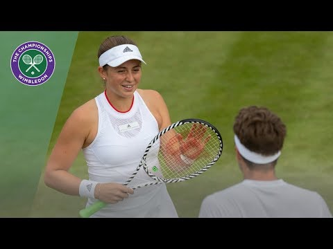 Jelena Ostapenko hits Mixed Doubles partner Robert Lindstedt with serve | Wimbledon 2019