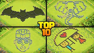 TOP 10 FUNNY/MEME/TROLL CoC Base Design Compilation for TH8 to TH13 w/ COPY LINKS! - Clash of Clans