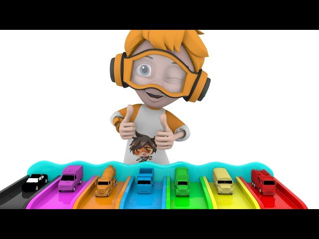 Learn Street Vehicles Name with Baby Playing Car Toys and Color Water Slide for Kids