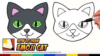 How to Draw a Cute Cat Emoji for Beginners Step by Step | BP