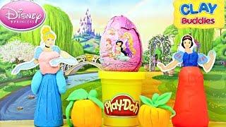 DISNEY PRINCESS Clay Buddies Surprise Toy Egg Play Doh Cinderella Snow White Princesa Huevo Sorpresa