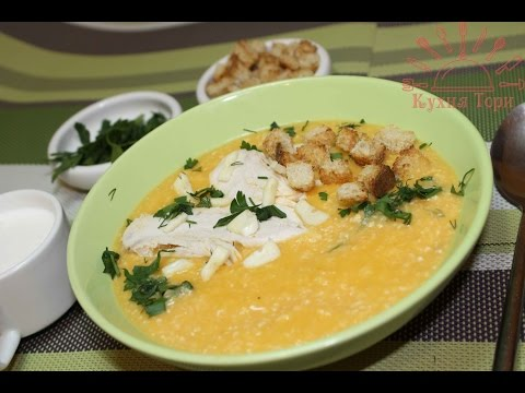 Картофельный суп-пюре с курицей и овощами