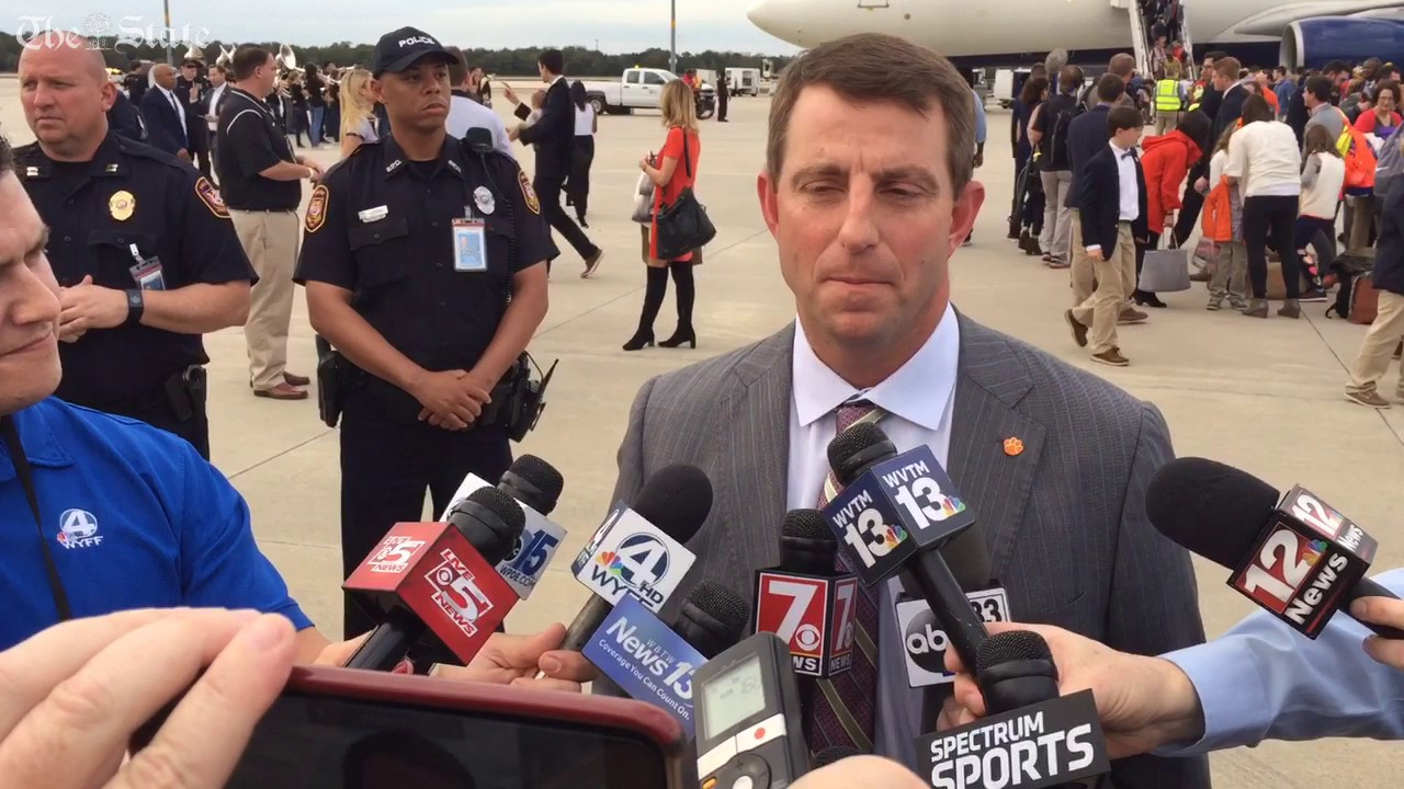 Clemson's Dabo Swinney and team arrive in Tampa - YouTube