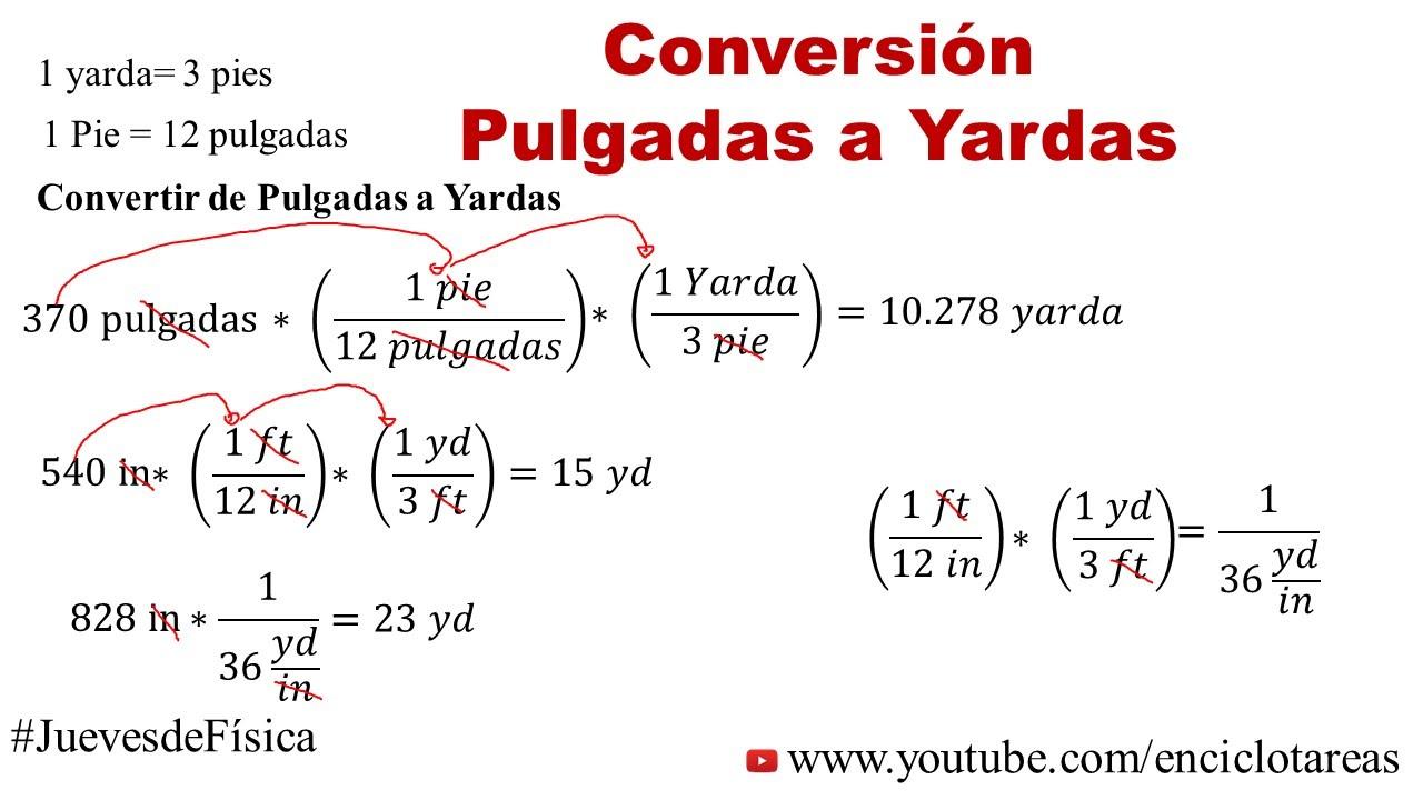 Convertir de Pulgadas a Yardas (in a yd) - YouTube