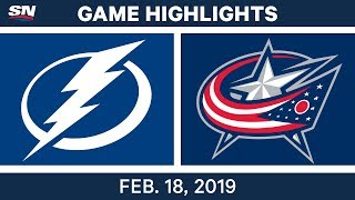 NHL Highlights | Lightning vs. Blue Jackets - Feb 18, 2019